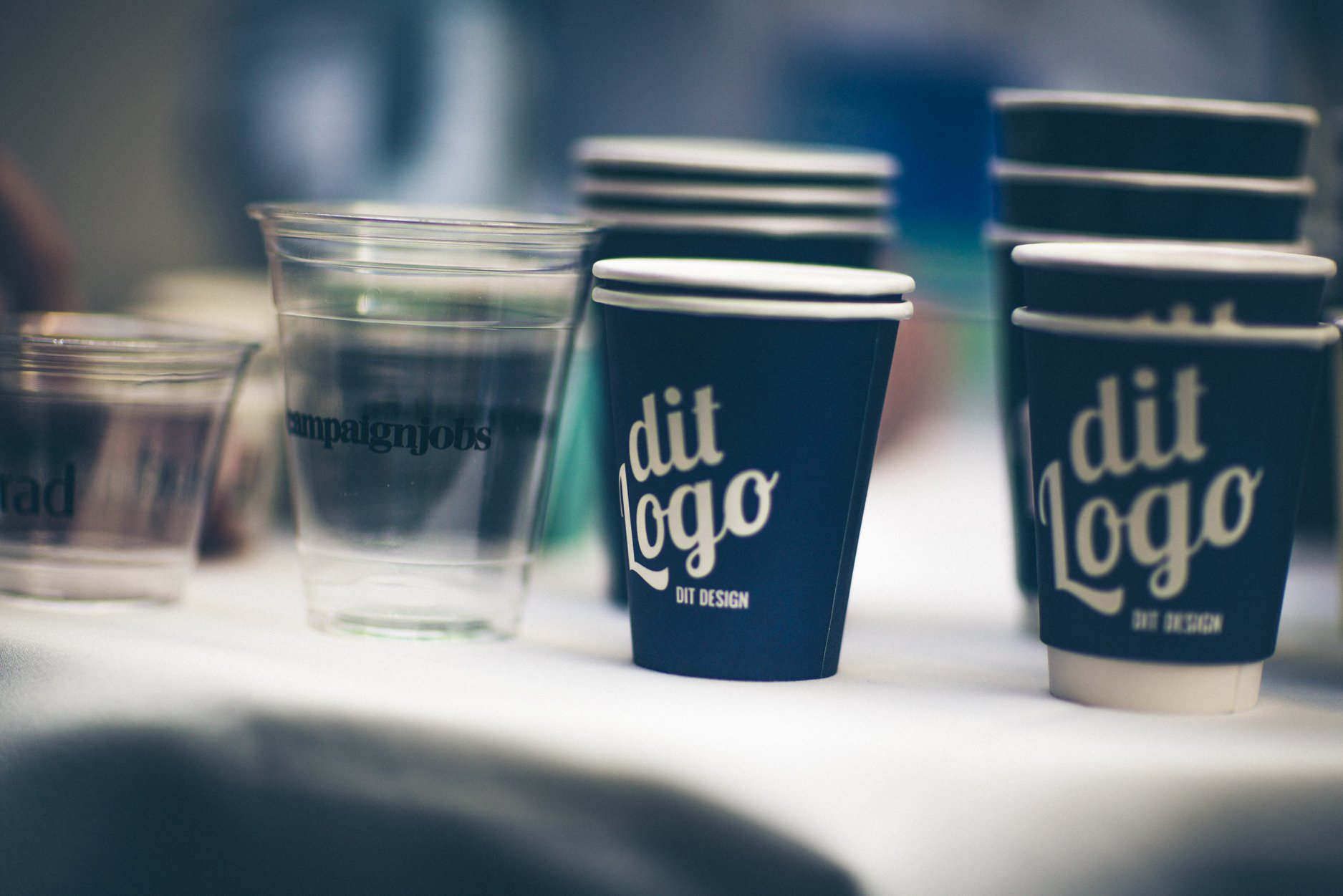 Paper cups on a table
